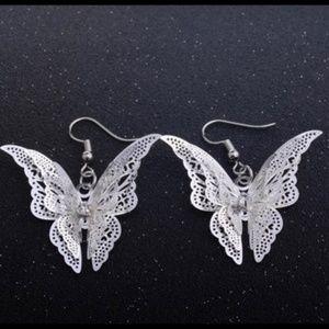 925 silver 3D butterfly earrings A20